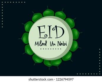 Mosque Frame Design for Milad Un Nabi with Nice and Beautiful Design Illustration Background. Happy Eid Milad Un Nabi.