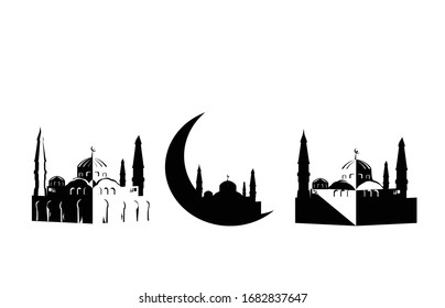 Mosque icon. Muslim traditional architecture house building islam religious design flat. Illustration vector