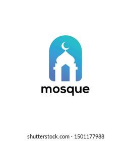 Mosque The Islamic Building Logo Design Vector