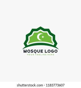 Mosque Islamic logo design vector