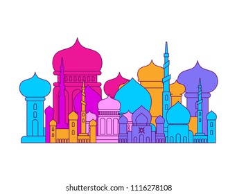 Mosque Islamic religious building. Vector illustration for Muslim holiday Eid Mubarak. Ramadan Kareem Greeting Card