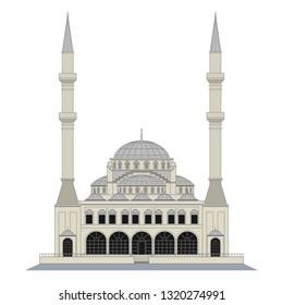 mosque, istanbul, vector, art