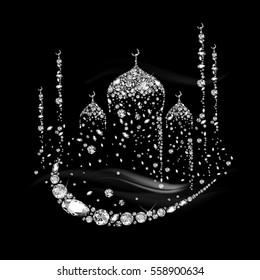 Mosque. Landscape with a mosque. Eid. East landscape. Falling Gems. Shiny Diamond Design. Vector illustration. Collection.
