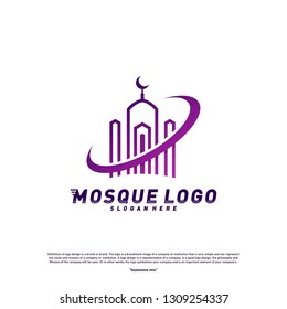 Mosque logo design concept Vector Template.Planet Religion Islamic logo template vector. Icon symbol