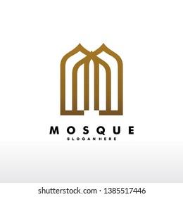 Mosque Logo Design Vector, Islamic Logo template - Vector