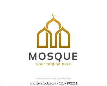 Mosque Logo Template Design Vector, Emblem, Concept Design, Creative Symbol, Icon