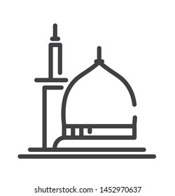 mosque of madinah icon with thin line style use for islamic event, web, print or pictogram assets. hajj, umrah, ramadhan kareem, ied mubarak - line vector.