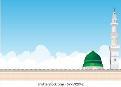 Mosque or masjid Al Nabawi minaret and green dome in Madinah, Saudi Arabia