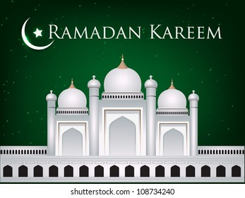 Mosque or Masjid with moon and text Ramadan Kareem EPS 10.