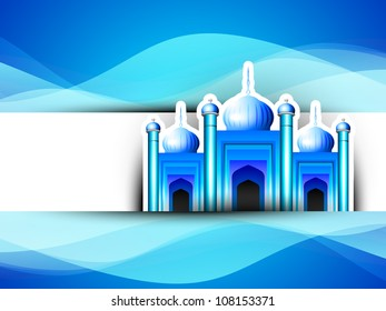 Mosque or Masjid on beautiful shiny blue background with moon. EPS 10.