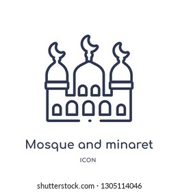 mosque and minaret icon from religion outline collection. Thin line mosque and minaret icon isolated on white background.