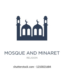 Mosque and Minaret icon. Trendy flat vector Mosque and Minaret icon on white background from Religion collection, vector illustration can be use for web and mobile, eps10