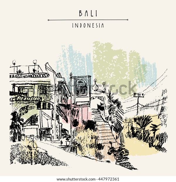 A mosque in North Bali, Indonesia, Southeast Asia. Bali, Indonesia. Handdrawn vintage touristic postcard, poster or book illustration in vector