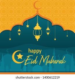 Mosque on Desert with Lantern Islamic Illustration of Happy Eid Mubarak