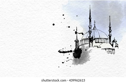 Mosque on watercolor paper and ink drops