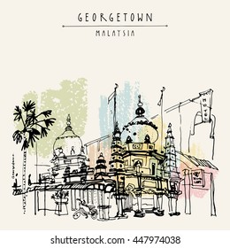 A mosque and palm trees in old part of Georgetown, Penang, Malaysia, Southeast Asia. Chulia street. Hand drawing. Travel sketch. Book illustration, postcard or poster in vector