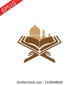 Mosque and Quran Logo Symbol. Vector. Islam.eps 10.