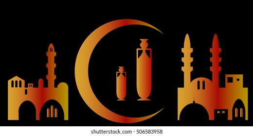 Mosque silhouette on black background. Moon and antique jug as a symbol of ancient east.