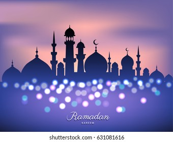 Mosque silhouette in sunset sky and abstract candles light for ramadan of Islam