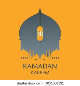 Mosque Silhouette Vector Digital Craft Isolated and Paper Art Style. Suitable for Ramadan & Eid Greeting, Background, Islamic Celebration