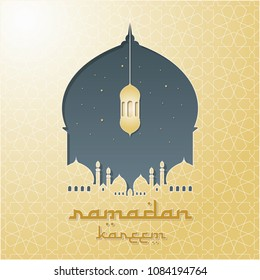 Mosque Silhouette Vector Digital Craft Isolated and Paper Art Style with Classic Ornament. Suitable for Ramadan & Eid Greeting, Background, Islamic Celebration