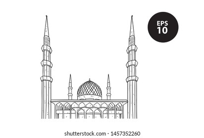 mosque sketch, ramadhan, drawing mosque, line art mosque