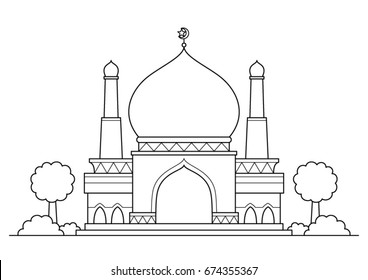 Mosque vector cartoon. Black and White Outline.