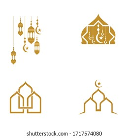 Mosque vector icon illustration design template