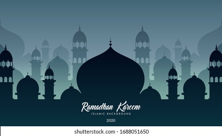 Mosques silhouettes. Ramadan kareem background. Eps 10 vector illustration