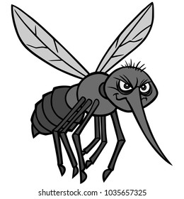 Mosquito Attack Illustration - A vector cartoon illustration of a Mosquito concept.