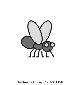 Mosquito bites. Bloodsucker cartoon icon. Colorful flat vector illustration. Isolated on white background.