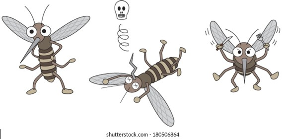 Mosquito cartoon in 3 actions. Standing Mosquito, Dead Mosquito and Hungry Mosquito.