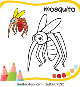 mosquito cartoon - coloring sheet for kids