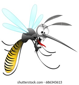 Mosquito Cartoon Hungry and Angry