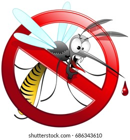 Mosquito Cartoon Hungry and Angry on Forbidden Sign