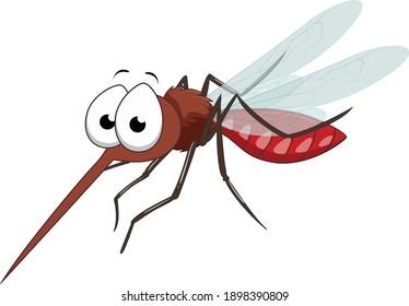 Mosquito cartoon vector art and illustration