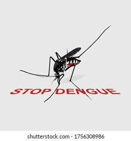 Mosquito close up side view on gray background. Stop Dengue is red warning.