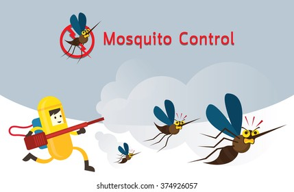 Mosquito Control, Man in Protective Suit Run Spraying, Against Disease Epidemics