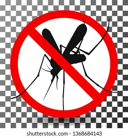 Mosquito Icon. Stop gnat or midge sign.