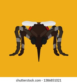 Mosquito insect vector icon animal bite. Isolated desease cartoon blood gnat parasite pest. Tropical mascot danger