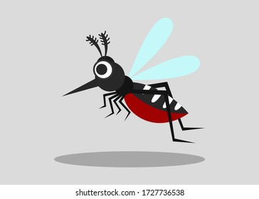 mosquito isolated on gray background. vector illustration