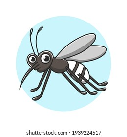 Mosquito Kids Drawing Cartoon. Insect Malaria Sting Mascot Vector Illustration. Zoo Animal Cute Character