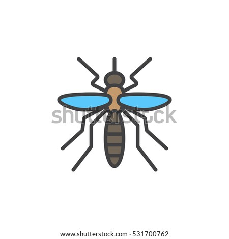 mosquito line icon filled outline vector stock vector royalty free