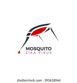 Mosquito logo isolated vector illustration. Zika virus concept logo.