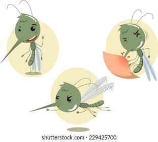 Mosquito Mosquitoes Set, vector illustration cartoon.