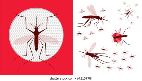 Mosquito net icon. Vector illustration of flying  mosquitoes.Flock of gnat