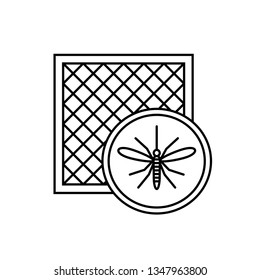 Mosquito net icon with window and mosquito silhouette. Anti pest insect netting defence. Adjustable stroke outline width.
