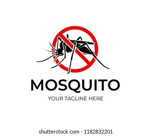 Mosquito in red circle with ban, logo design. Insect bloodsucking, nature and wildlife, vector design