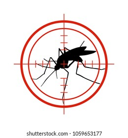 Mosquito in red target. Anti mosquitoes, dengue epidemic insect control vector symbol isolated. Control mosquito insect, warning and target focus illustration