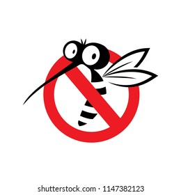 Mosquito sign vector logo icon illustration.Stop.